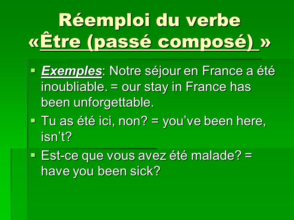 Réemploi du verbe «Être (passé composé) » Exemples: Notre séjour en France a été inoubliable. = our stay in France has been unforgettable. Exemples: N