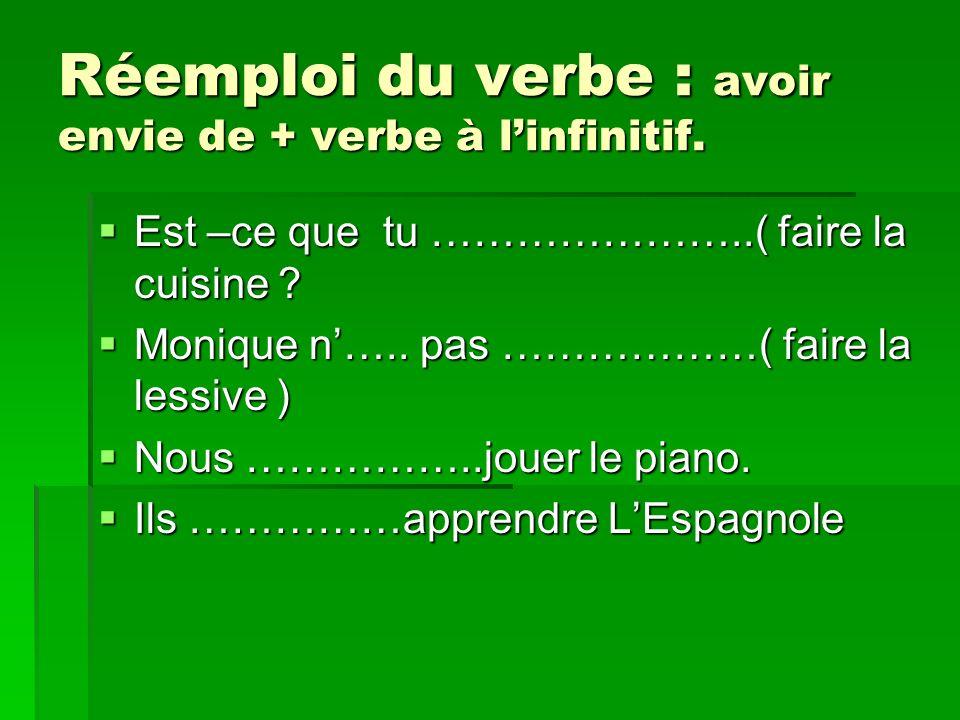 Réemploi du verbe : avoir envie de + verbe à linfinitif.