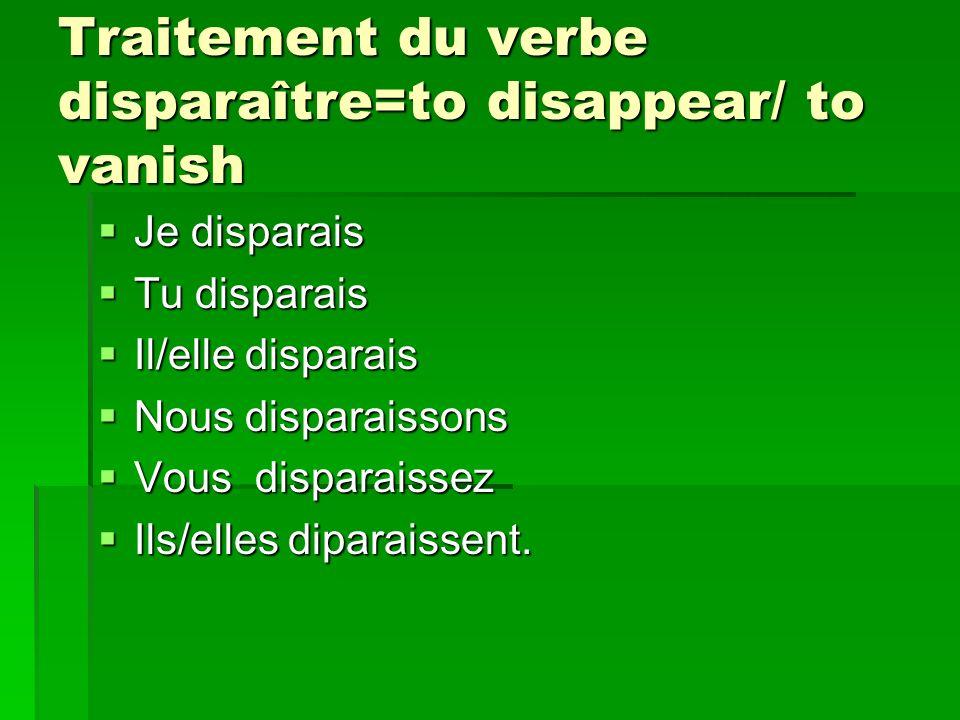 Traitement du verbe disparaître=to disappear/ to vanish Je disparais Je disparais Tu disparais Tu disparais Il/elle disparais Il/elle disparais Nous d
