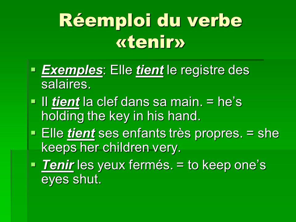 Réemploi du verbe «tenir» Exemples: Elle tient le registre des salaires.