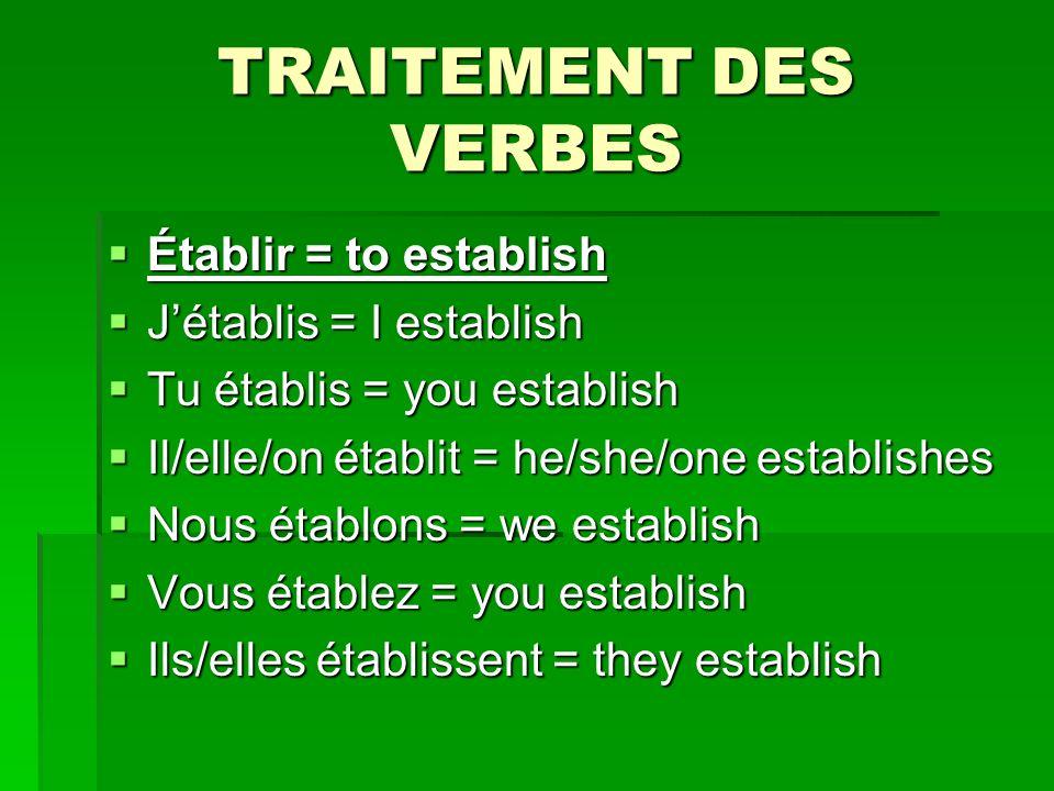 TRAITEMENT DES VERBES Établir = to establish Établir = to establish Jétablis = I establish Jétablis = I establish Tu établis = you establish Tu établis = you establish Il/elle/on établit = he/she/one establishes Il/elle/on établit = he/she/one establishes Nous établons = we establish Nous établons = we establish Vous établez = you establish Vous établez = you establish Ils/elles établissent = they establish Ils/elles établissent = they establish