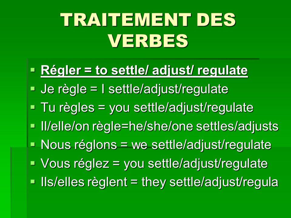 TRAITEMENT DES VERBES Régler = to settle/ adjust/ regulate Régler = to settle/ adjust/ regulate Je règle = I settle/adjust/regulate Je règle = I settle/adjust/regulate Tu règles = you settle/adjust/regulate Tu règles = you settle/adjust/regulate Il/elle/on règle=he/she/one settles/adjusts Il/elle/on règle=he/she/one settles/adjusts Nous réglons = we settle/adjust/regulate Nous réglons = we settle/adjust/regulate Vous réglez = you settle/adjust/regulate Vous réglez = you settle/adjust/regulate Ils/elles règlent = they settle/adjust/regula Ils/elles règlent = they settle/adjust/regula