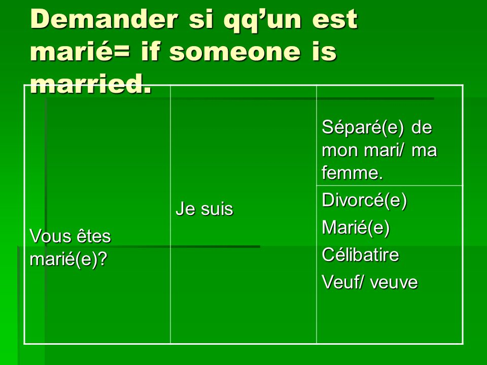 Demander si qqun est marié= if someone is married.