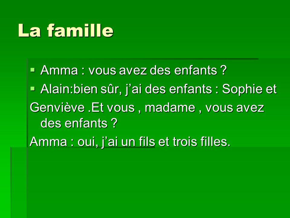 La famille Amma : vous avez des enfants ? Amma : vous avez des enfants ? Alain:bien sûr, jai des enfants : Sophie et Alain:bien sûr, jai des enfants :