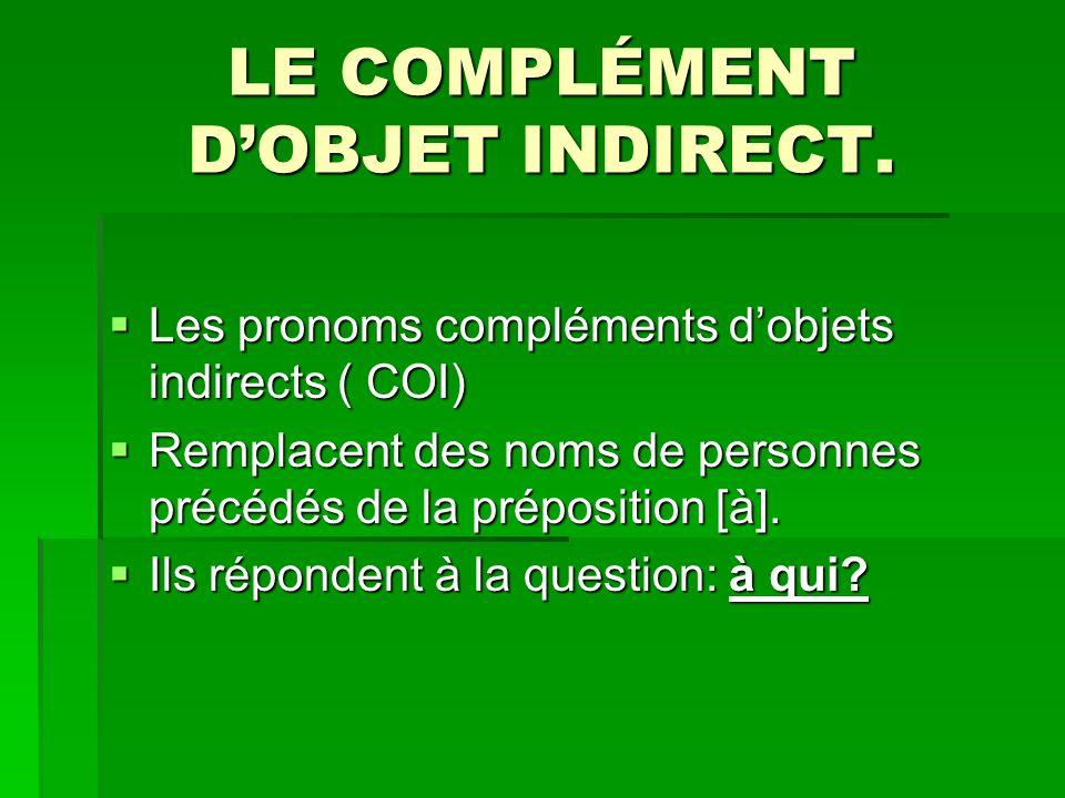 LE COMPLÉMENT DOBJET INDIRECT.
