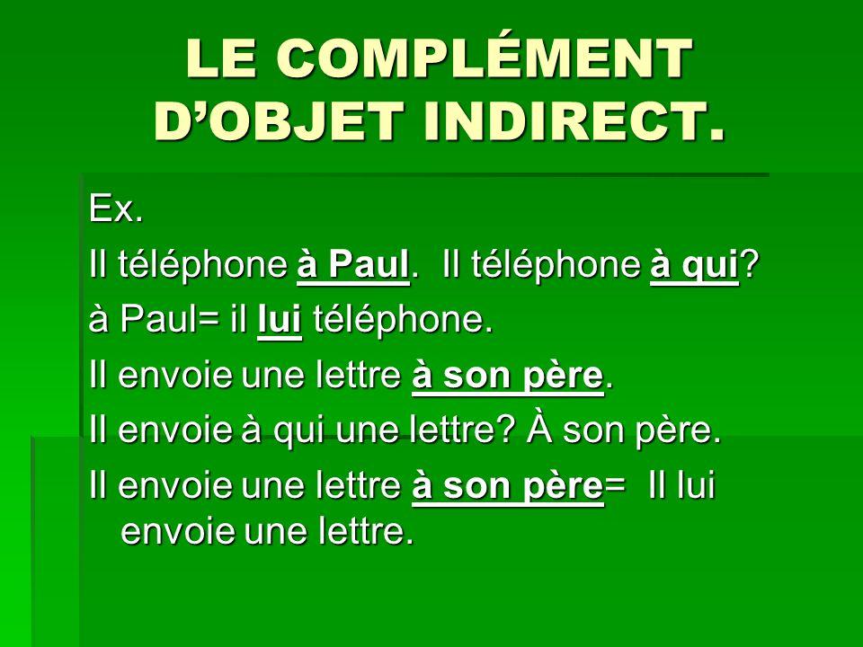LE COMPLÉMENT DOBJET INDIRECT.Ex. Il téléphone à Paul.