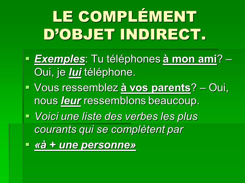 LE COMPLÉMENT DOBJET INDIRECT.Exemples: Tu téléphones à mon ami.