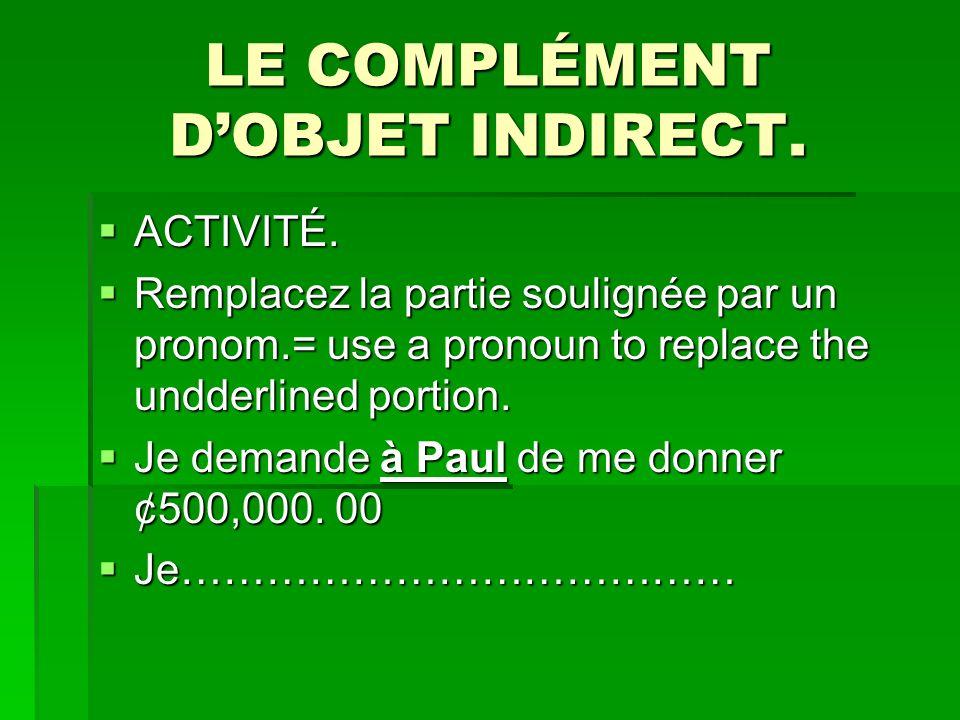 LE COMPLÉMENT DOBJET INDIRECT.ACTIVITÉ. ACTIVITÉ.
