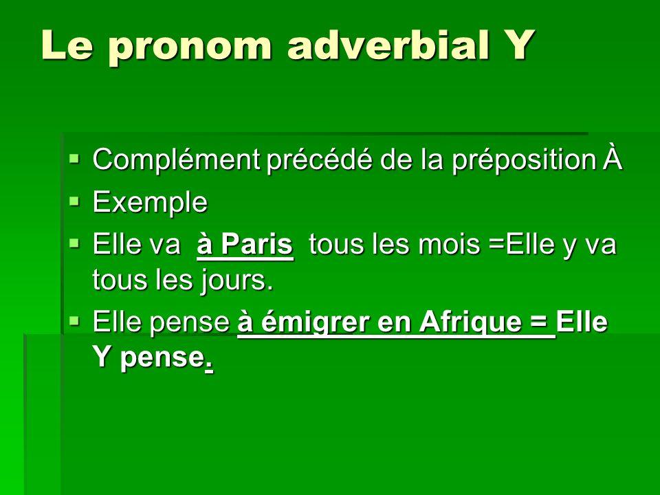 Le pronom adverbial Y Complément précédé de la préposition À Complément précédé de la préposition À Exemple Exemple Elle va à Paris tous les mois =Elle y va tous les jours.