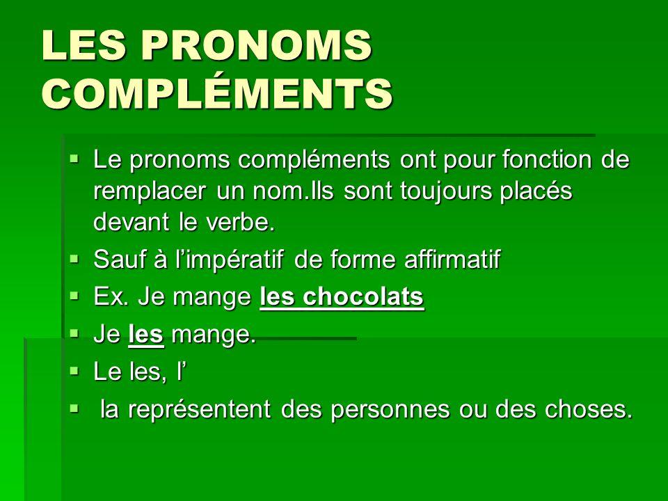 LES PRONOMS COMPLÉMENTS Le pronoms compléments ont pour fonction de remplacer un nom.Ils sont toujours placés devant le verbe.
