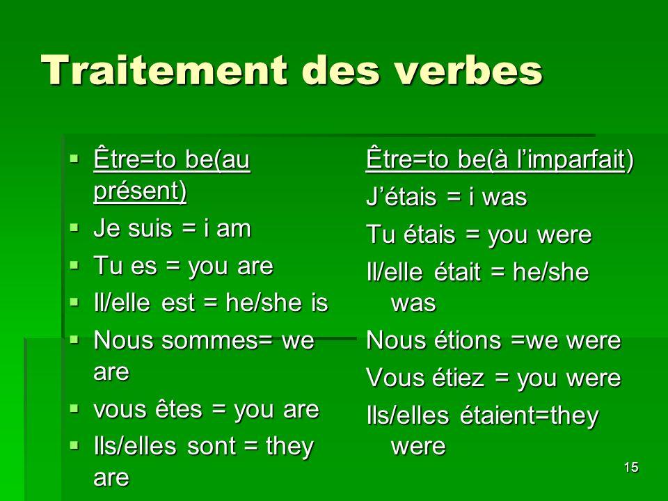 15 Traitement des verbes Être=to be(au présent) Être=to be(au présent) Je suis = i am Je suis = i am Tu es = you are Tu es = you are Il/elle est = he/