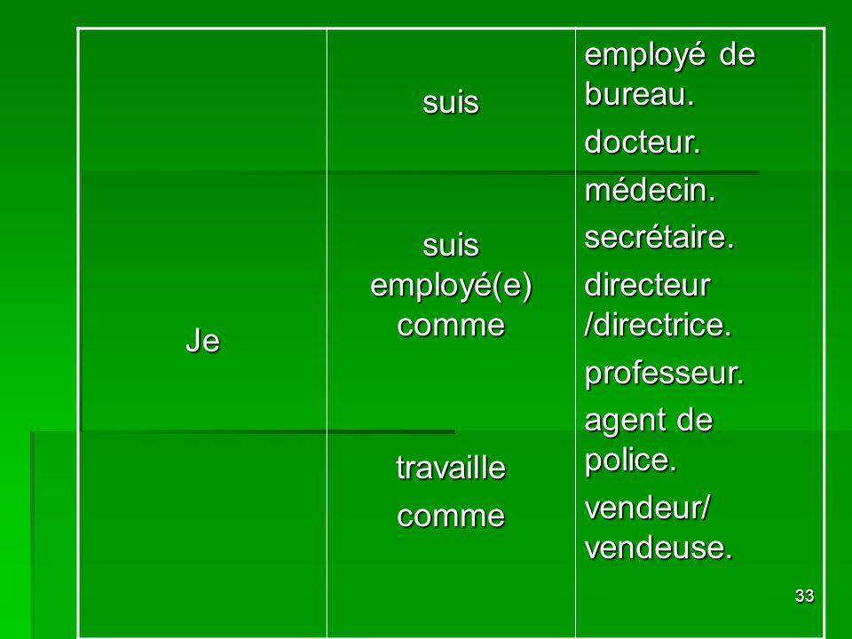 33 Jesuis suis employé(e) comme travaillecomme employé de bureau. docteur.médecin.secrétaire. directeur /directrice. professeur. agent de police. vend