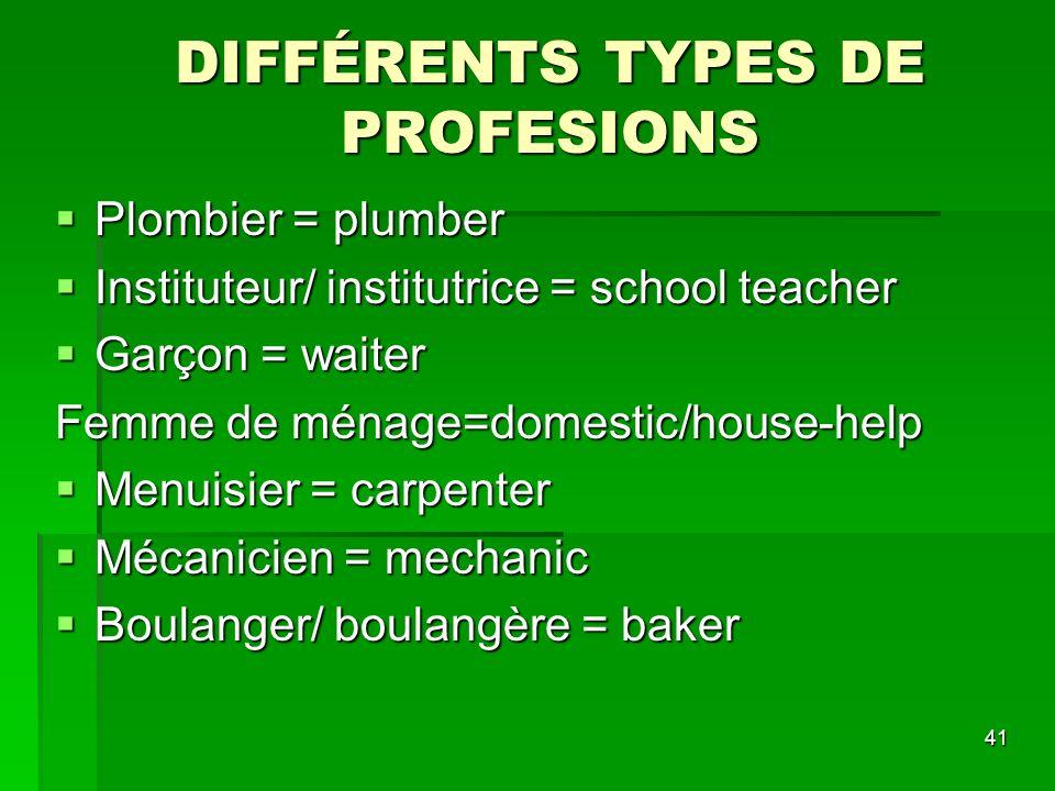 42 DIFFÉRENTS TYPES DE PROFESIONS Commerçant(e) = trader Commerçant(e) = trader Enseignant(e) = teacher Enseignant(e) = teacher Boucher/ bouchère = butcher Boucher/ bouchère = butcher Banquier/ banquière = banker Banquier/ banquière = banker Pilote = pilot Pilote = pilot Cordonnier = cobbler/ shoe mender Cordonnier = cobbler/ shoe mender Poissonnier/ poissonnière = fish monger Poissonnier/ poissonnière = fish monger