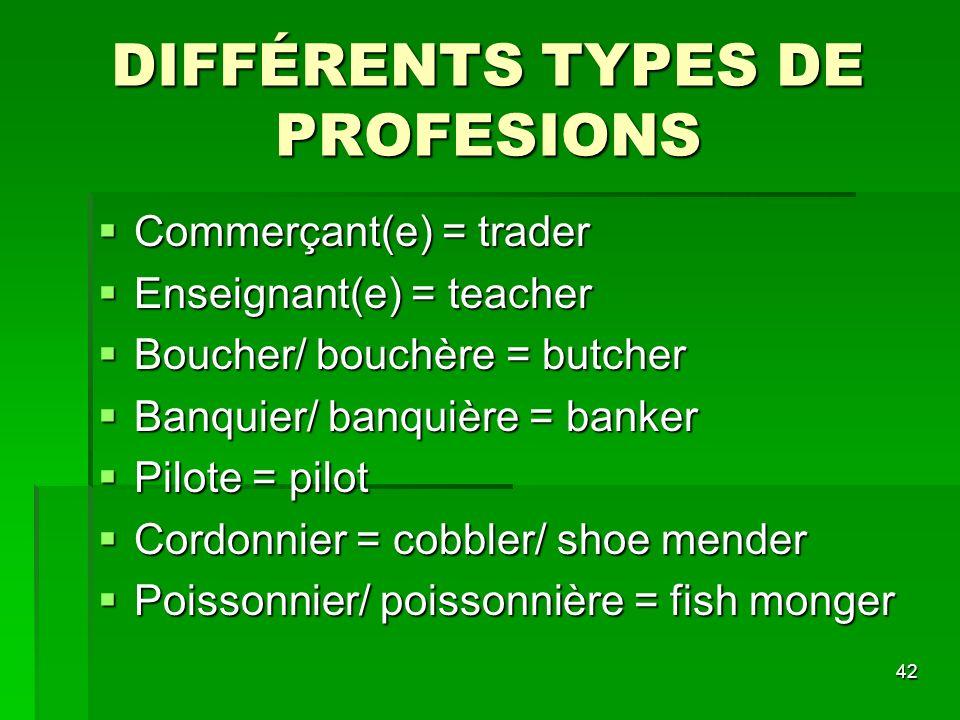 42 DIFFÉRENTS TYPES DE PROFESIONS Commerçant(e) = trader Commerçant(e) = trader Enseignant(e) = teacher Enseignant(e) = teacher Boucher/ bouchère = bu