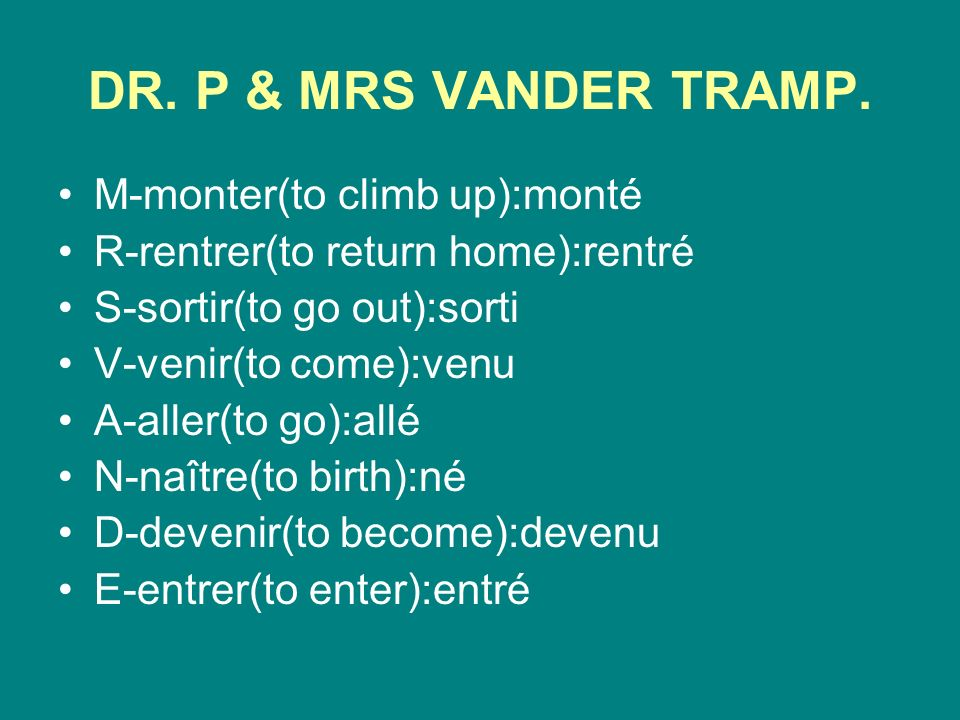 DR. P & MRS VANDER TRAMP.