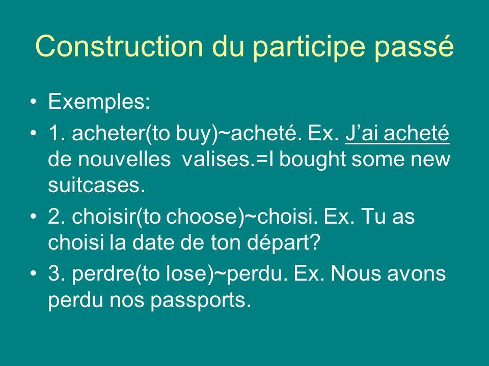 Construction du participe passé Exemples: 1. acheter(to buy)~acheté.