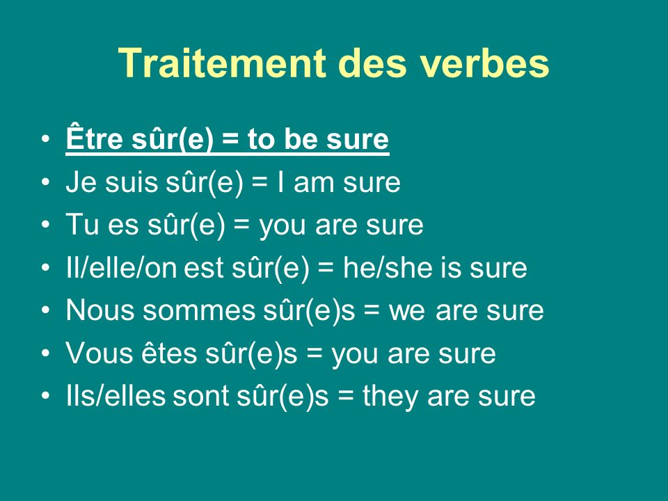 Traitement des verbes Être sûr(e) = to be sure Je suis sûr(e) = I am sure Tu es sûr(e) = you are sure Il/elle/on est sûr(e) = he/she is sure Nous sommes sûr(e)s = we are sure Vous êtes sûr(e)s = you are sure Ils/elles sont sûr(e)s = they are sure