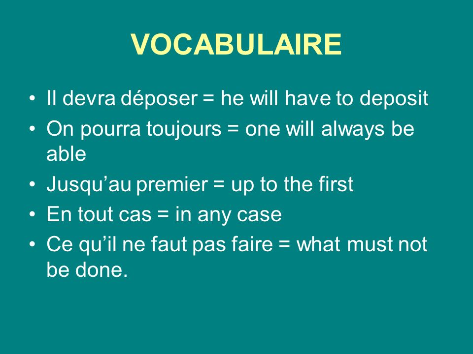 VOCABULAIRE Au profit dun autre = at the benefit of another Et ainsi de suite = and so on/and so forth Ainsi = thus