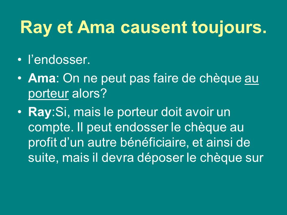 Ray et Ama causent toujours.son compte.