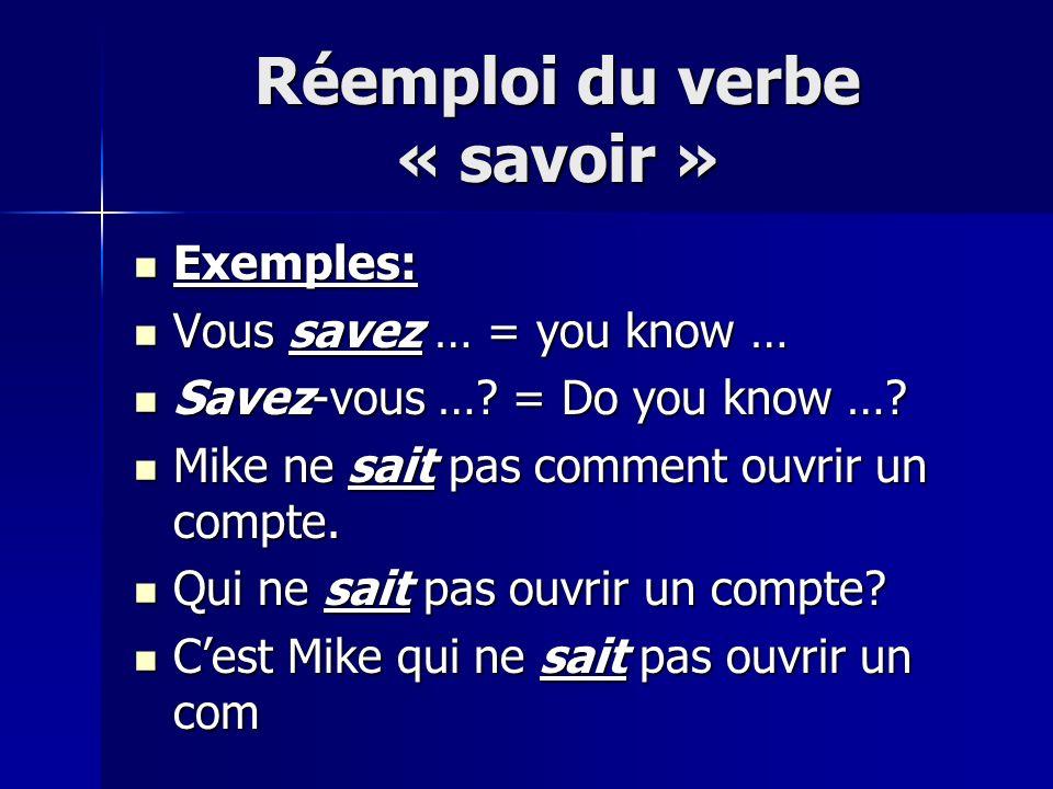 Réemploi du verbe « savoir » Exemples: Exemples: Vous savez … = you know … Vous savez … = you know … Savez-vous ….