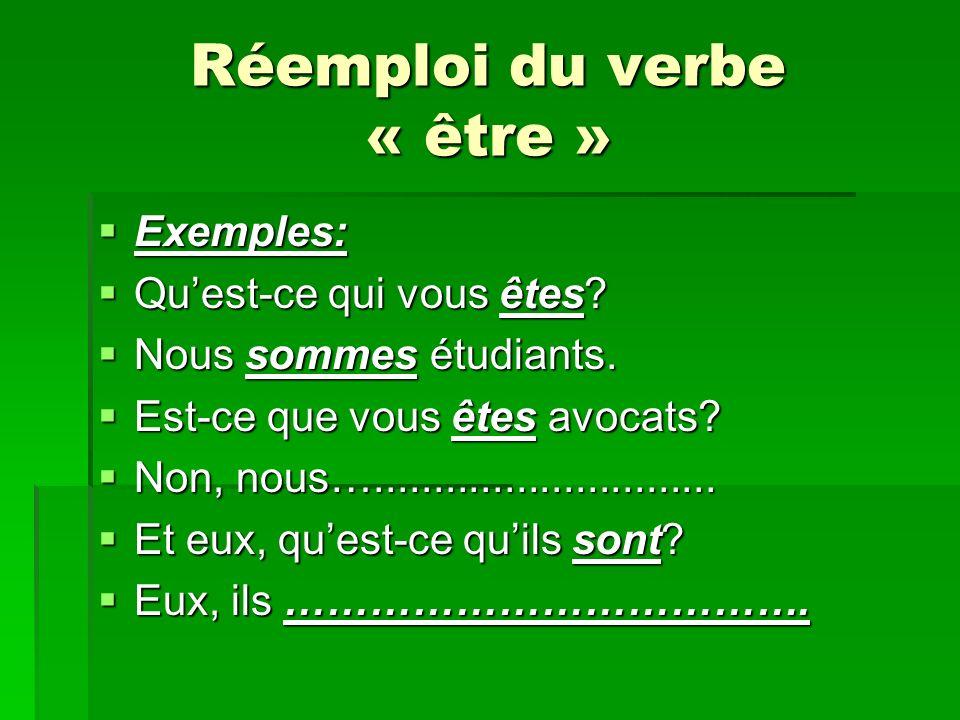 Réemploi du verbe « être » Exemples: Exemples: Quest-ce qui vous êtes? Quest-ce qui vous êtes? Nous sommes étudiants. Nous sommes étudiants. Est-ce qu