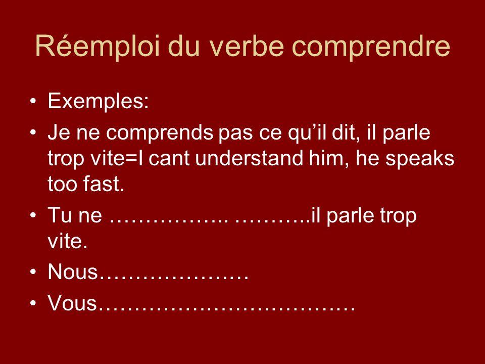 Réemploi du verbe comprendre Exemples: Je ne comprends pas ce quil dit, il parle trop vite=I cant understand him, he speaks too fast.