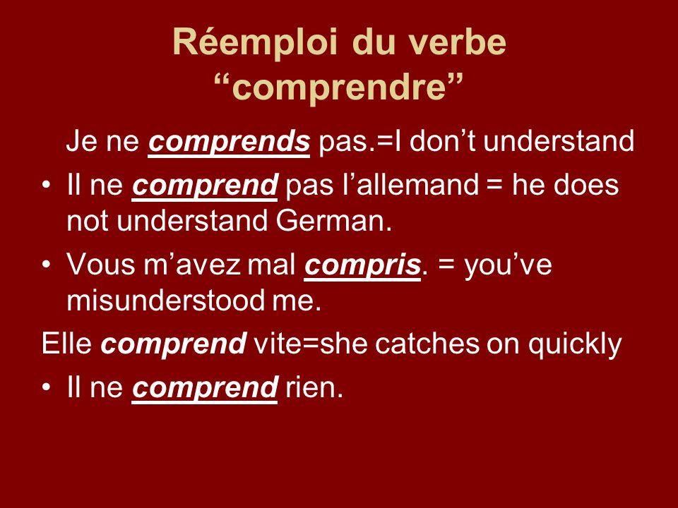 Réemploi du verbe comprendre Je ne comprends pas.=I dont understand Il ne comprend pas lallemand = he does not understand German.