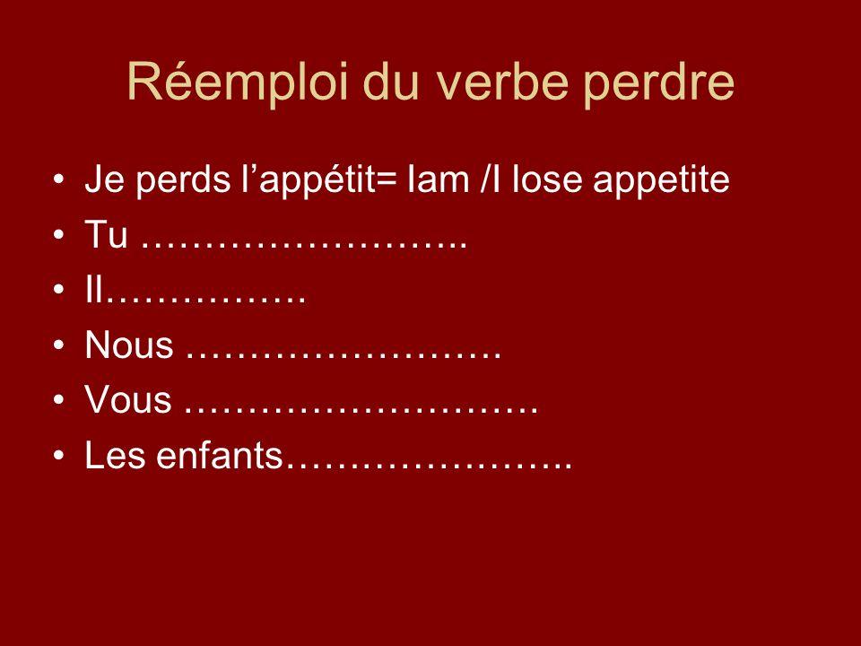 Réemploi du verbe perdre Je perds lappétit= Iam /I lose appetite Tu ……………………..
