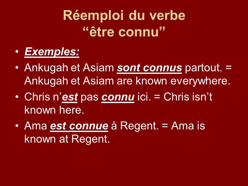 Réemploi du verbe être connu Exemples: Ankugah et Asiam sont connus partout.