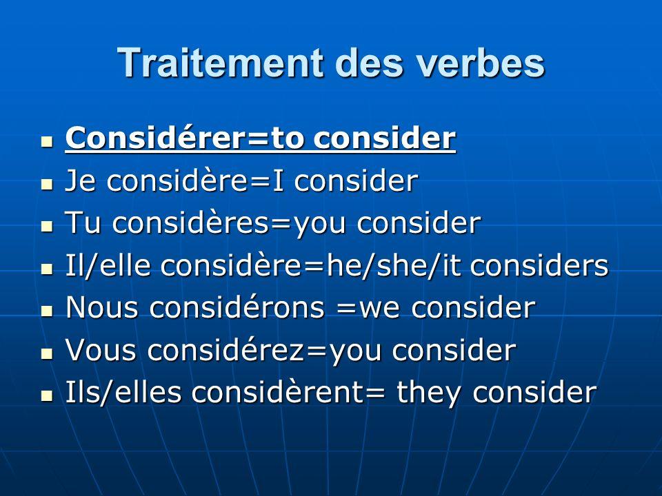Traitement des verbes Considérer=to consider Considérer=to consider Je considère=I consider Je considère=I consider Tu considères=you consider Tu cons