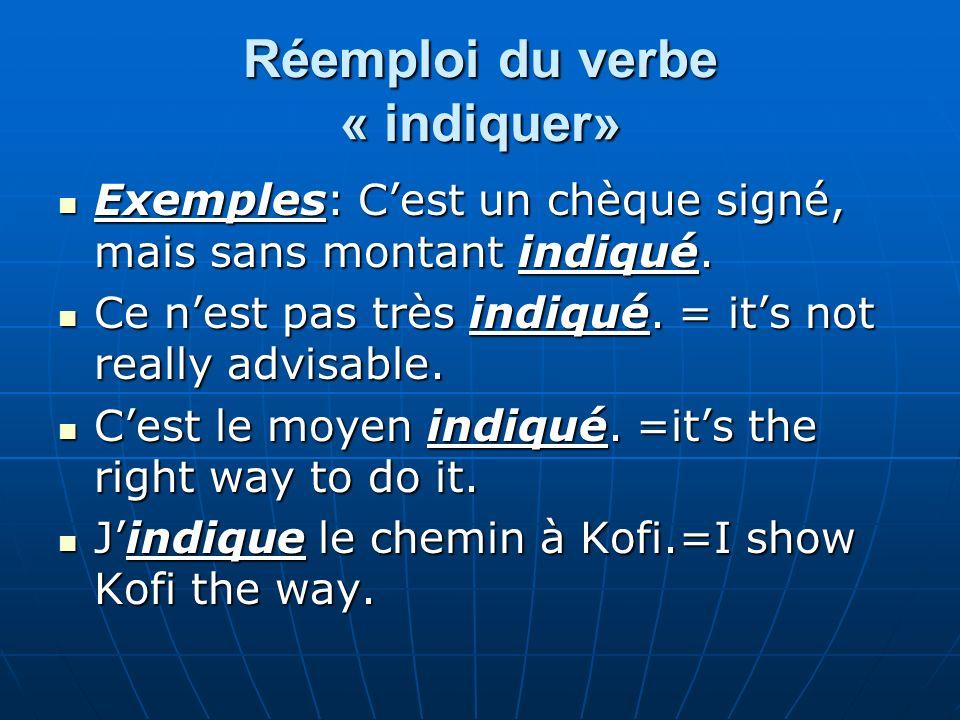 Réemploi du verbe « indiquer» Exemples: Cest un chèque signé, mais sans montant indiqué. Exemples: Cest un chèque signé, mais sans montant indiqué. Ce