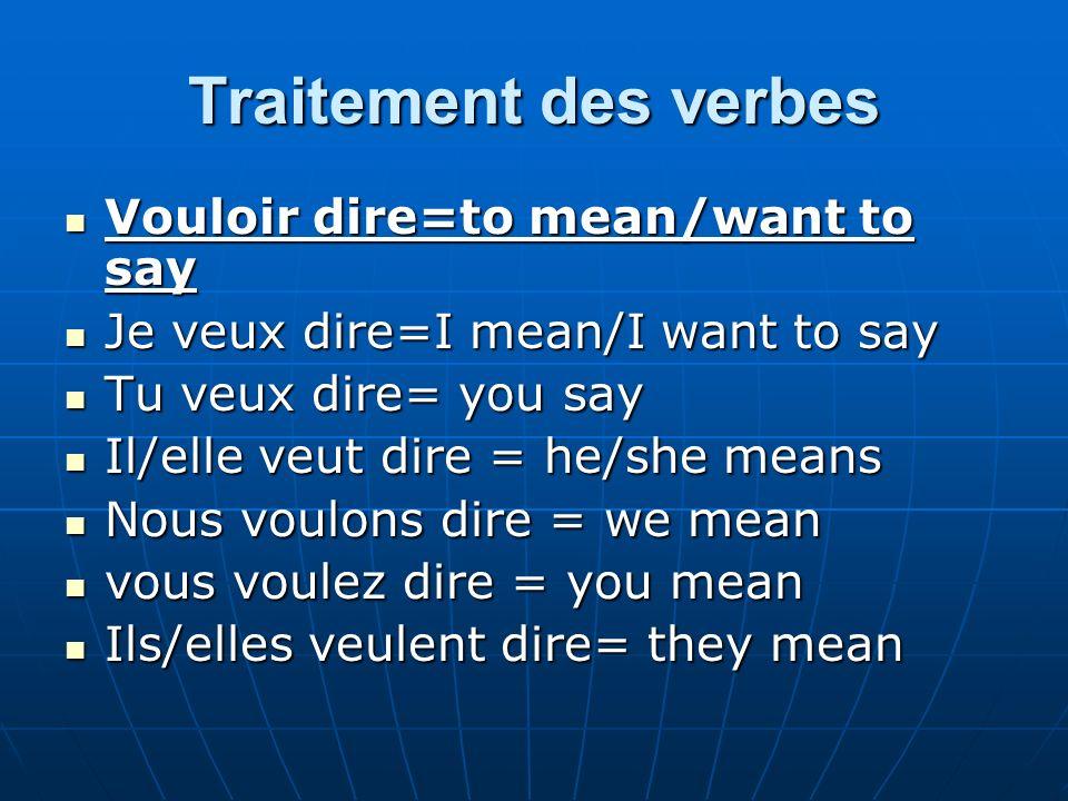 Traitement des verbes Vouloir dire=to mean/want to say Vouloir dire=to mean/want to say Je veux dire=I mean/I want to say Je veux dire=I mean/I want t