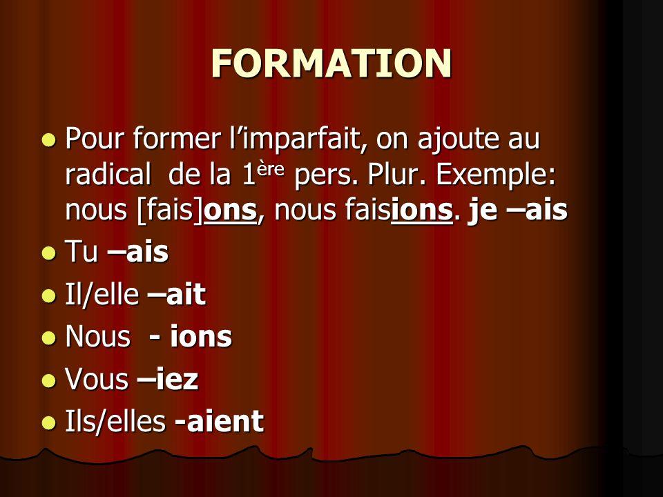 FORMATION Pour former limparfait, on ajoute au radical de la 1 ère pers.