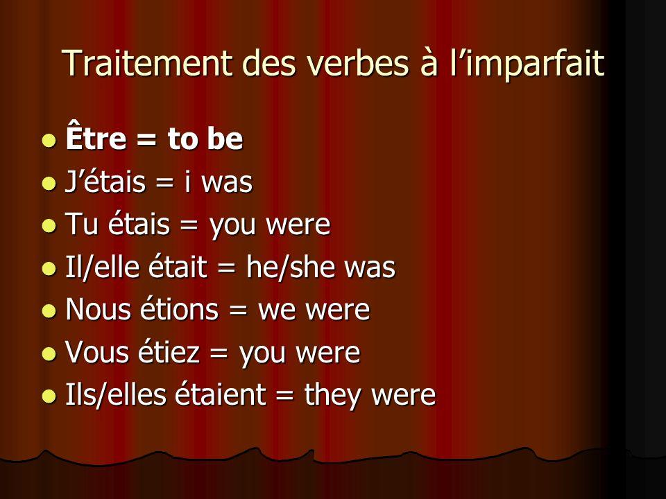 Traitement des verbes à limparfait Devoir = must/ to have to Devoir = must/ to have to Je devais = I had to Je devais = I had to Tu devais = you had to Tu devais = you had to Il/elle devait = he/she had to Il/elle devait = he/she had to Nous devions = we had to Nous devions = we had to Vous deviez = you had to Vous deviez = you had to Ils/elles devaient = they had to Ils/elles devaient = they had to