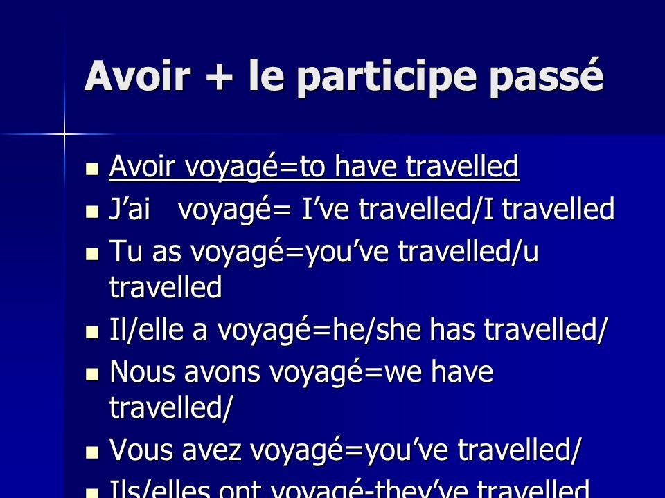Avoir + le participe passé Avoir voyagé=to have travelled Avoir voyagé=to have travelled Jai voyagé= Ive travelled/I travelled Jai voyagé= Ive travell