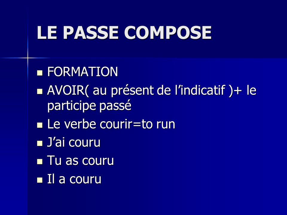 LE PASSE COMPOSE FORMATION FORMATION AVOIR( au présent de lindicatif )+ le participe passé AVOIR( au présent de lindicatif )+ le participe passé Le ve
