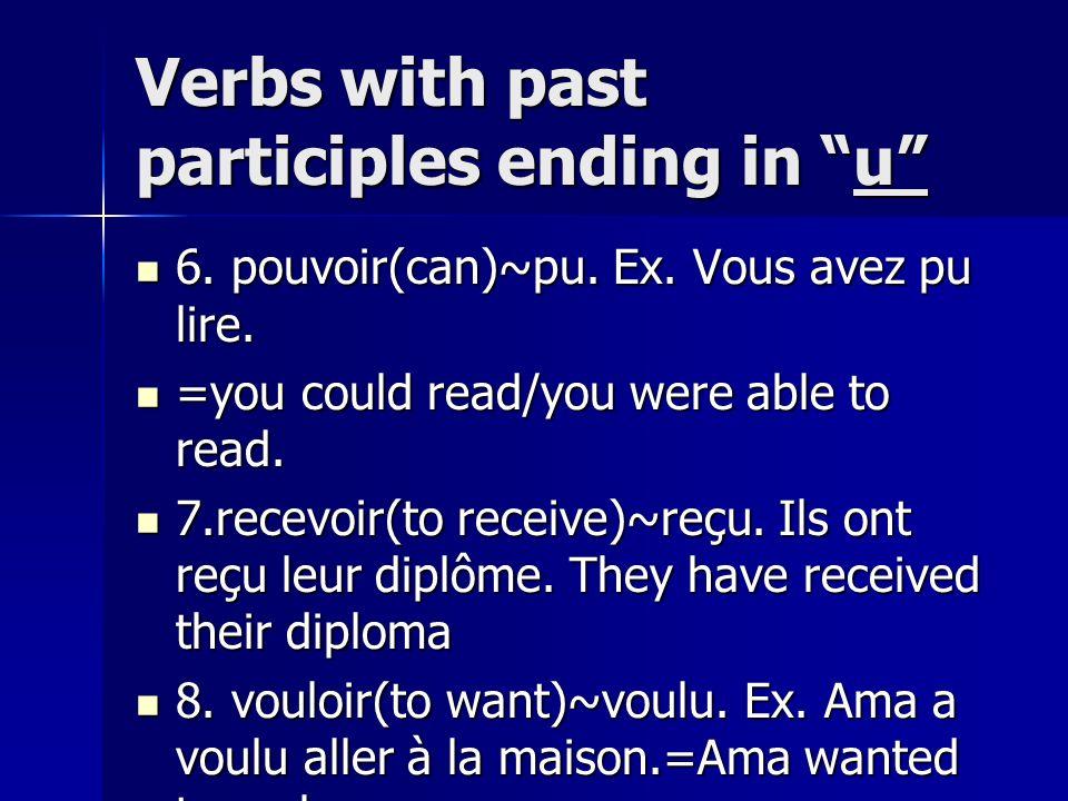 Verbs with past participles ending in u 6. pouvoir(can)~pu. Ex. Vous avez pu lire. 6. pouvoir(can)~pu. Ex. Vous avez pu lire. =you could read/you were
