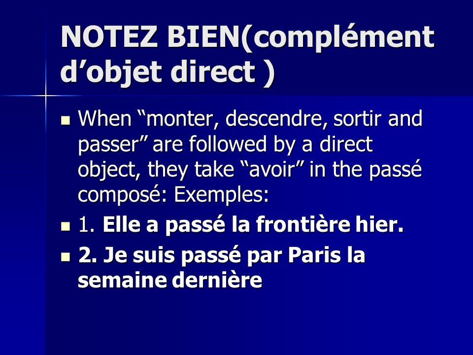 NOTEZ BIEN(complément dobjet direct ) When monter, descendre, sortir and passer are followed by a direct object, they take avoir in the passé composé: