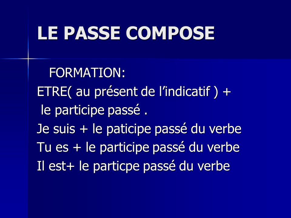 LE PASSE COMPOSE FORMATION: FORMATION: ETRE( au présent de lindicatif ) + le participe passé. le participe passé. Je suis + le paticipe passé du verbe