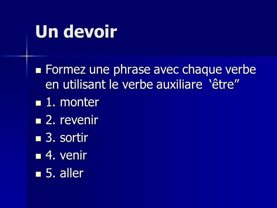 Un devoir Formez une phrase avec chaque verbe en utilisant le verbe auxiliare être Formez une phrase avec chaque verbe en utilisant le verbe auxiliare