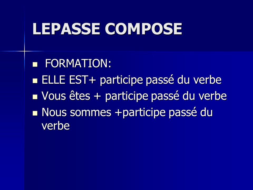 LEPASSE COMPOSE FORMATION: FORMATION: ELLE EST+ participe passé du verbe ELLE EST+ participe passé du verbe Vous êtes + participe passé du verbe Vous