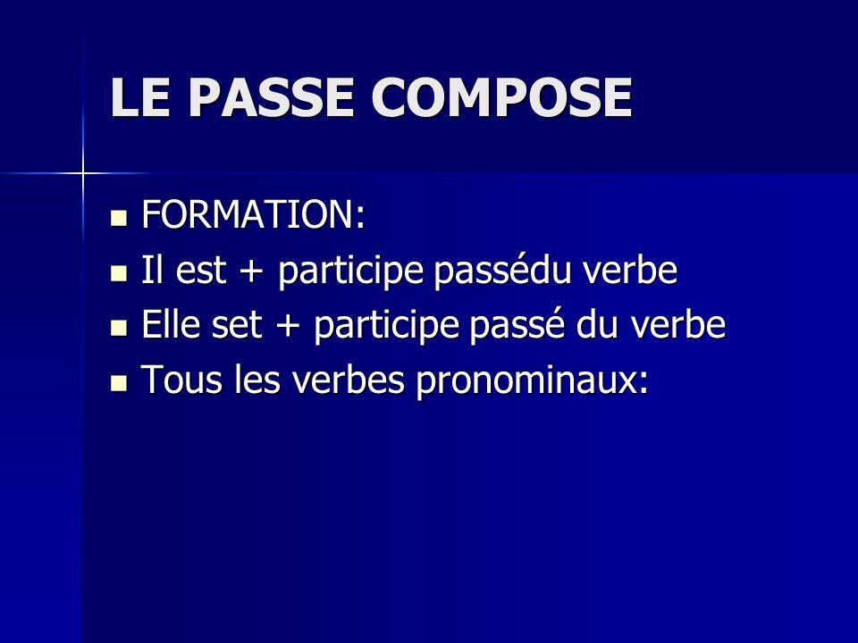 LE PASSE COMPOSE FORMATION: FORMATION: Il est + participe passédu verbe Il est + participe passédu verbe Elle set + participe passé du verbe Elle set