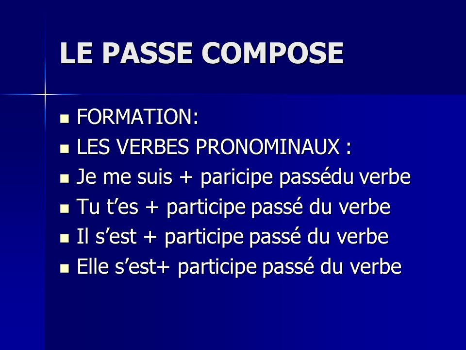 PASSÉ COMPOSÉ with TRE In the passé composé with être, the past participle always agrees with the subject in gender and number.