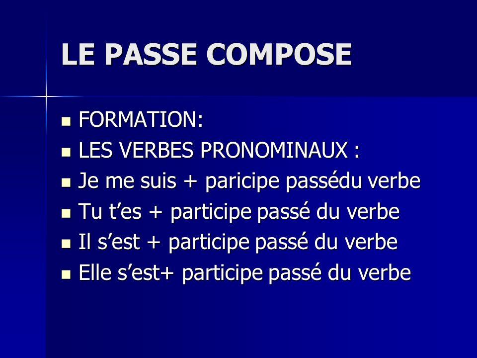 LE PASSE COMPOSE FORMATION: FORMATION: LES VERBES PRONOMINAUX : LES VERBES PRONOMINAUX : Je me suis + paricipe passédu verbe Je me suis + paricipe pas