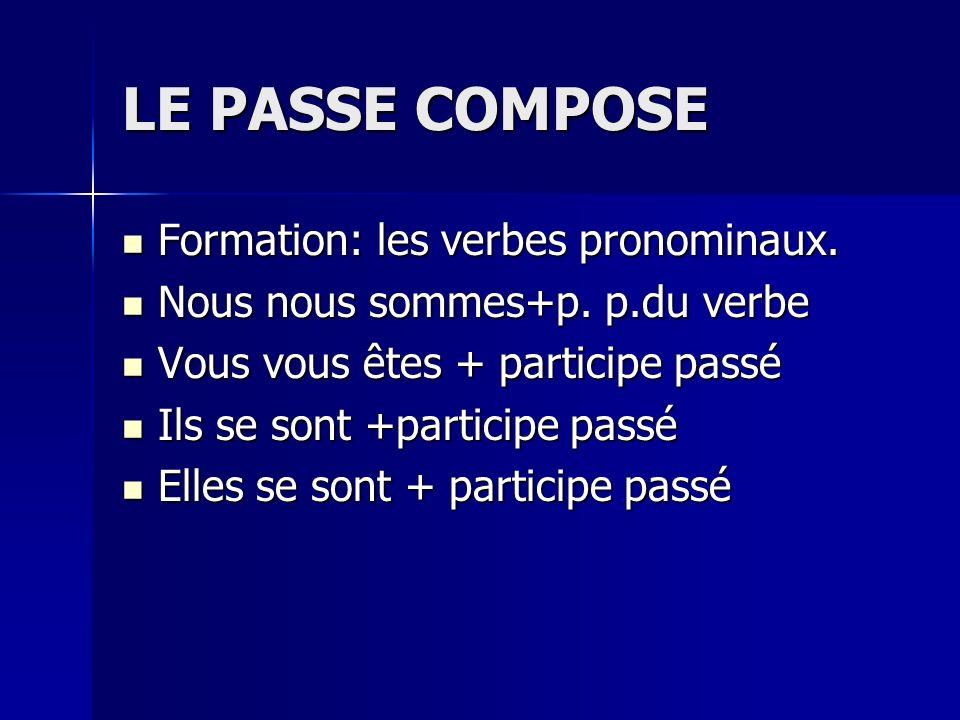LE PASSE COMPOSE Formation: les verbes pronominaux. Formation: les verbes pronominaux. Nous nous sommes+p. p.du verbe Nous nous sommes+p. p.du verbe V