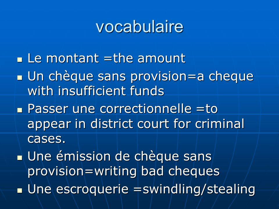 vocabulaire Interdit=forbidden/interdicted Interdit=forbidden/interdicted Indiqué=written on the cheque / indicated on the cheque Indiqué=written on the cheque / indicated on the cheque Oui, bien sûr = yes of course Oui, bien sûr = yes of course À ce propos=on this subject À ce propos=on this subject La loi =the law La loi =the law Un mauvais chèque =a bounced cheque Un mauvais chèque =a bounced cheque DONT=of which DONT=of which