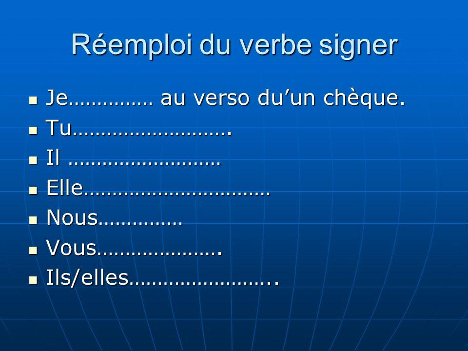 Réemploi du verbe signer Je…………… au verso duun chèque.
