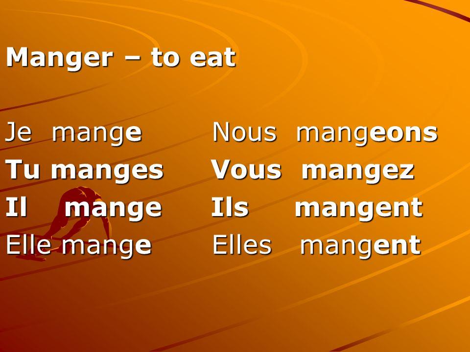 Manger – to eat Je mange Nous mangeons Tu manges Vous mangez Il mange Ils mangent Elle mange Elles mangent