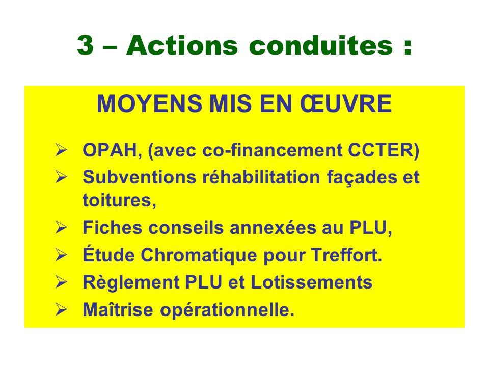 3 – Actions conduites : MOYENS MIS EN ŒUVRE OPAH, (avec co-financement CCTER) Subventions réhabilitation façades et toitures, Fiches conseils annexées