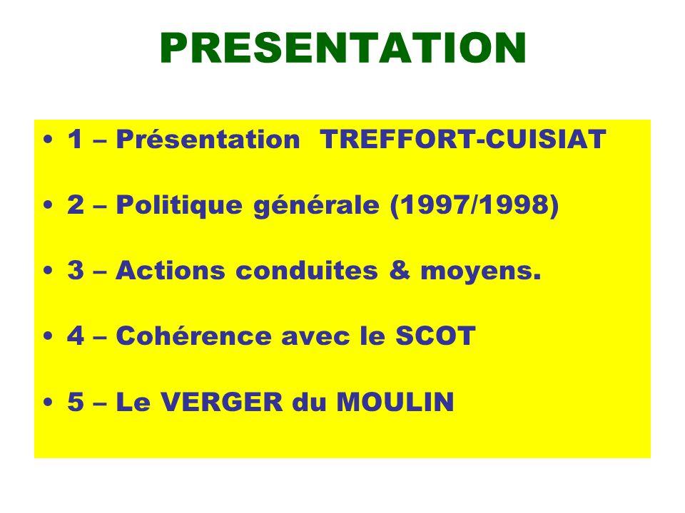 PRESENTATION 1 – Présentation TREFFORT-CUISIAT 2 – Politique générale (1997/1998) 3 – Actions conduites & moyens. 4 – Cohérence avec le SCOT 5 – Le VE